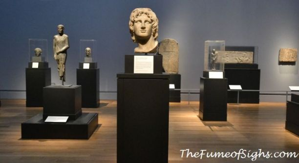 From the British Museum, marble head of Alexander the Great (center), 2nd - 1st century BC, Egyptian, Ptolemaic, in marble.