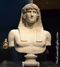 From the Musee du Louvre, Antinous as Osiris, about 130, Roman, in marble.