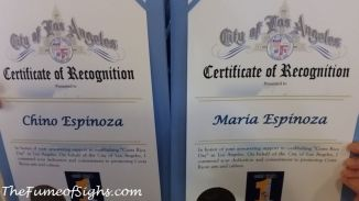 Certificates of Recognition were given to several members of the Costa Rican community in Los Angeles